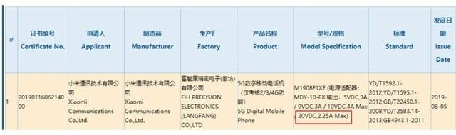 小米5G手机通过3C认证:支持45W快充