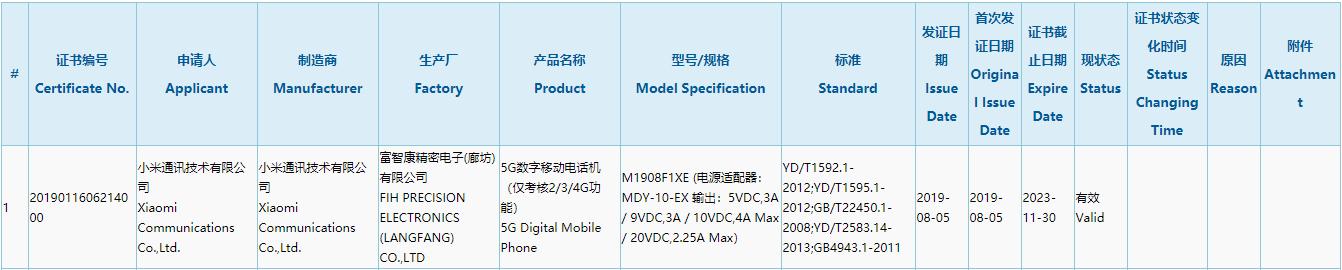 姗姗来迟?小米5G手机通过3C认证 支持45W快充