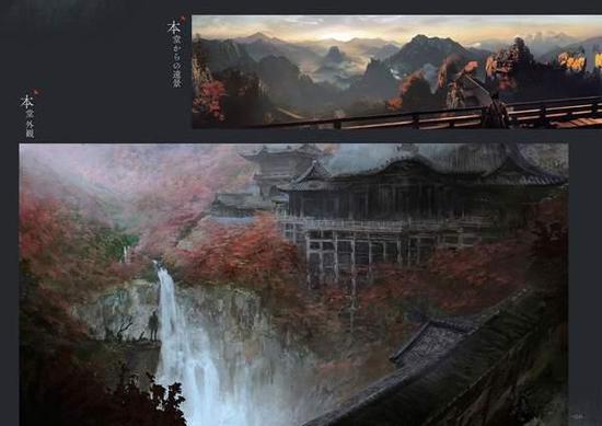网友分享《只狼》官方原画设定集 坠落之谷意境十足
