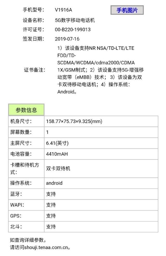 iQOO Pro 5G版入网 4410mAh电池搭配44W快充