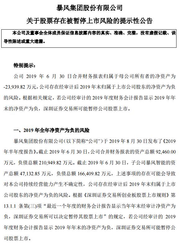 暴风集团:深交所可能暂停公司股票上市