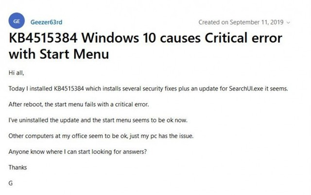 W10虽修复进程问题 但导致开始菜单严重错误