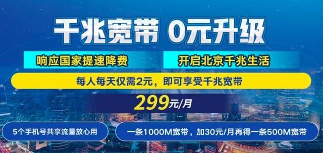 北京联通开始推千兆宽带 每月299元你能接受吗?