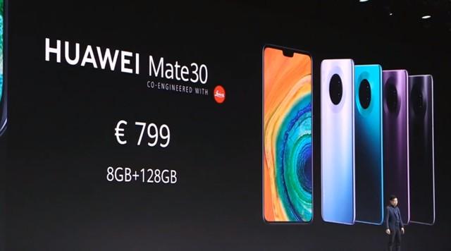 799欧元起售 后置四摄HUAWEI Mate30正式发布